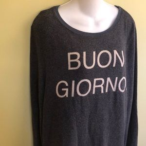 Wildfox Buon Giorno Grey Scoop Neck Sweatshirt